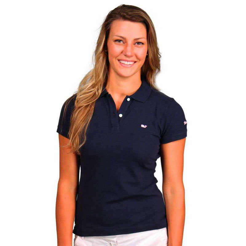 Women's Polo Shirts - Women's Classic Polo In Navy By Vineyard Vines, Featuring Longshanks The Fox - FINAL SALE