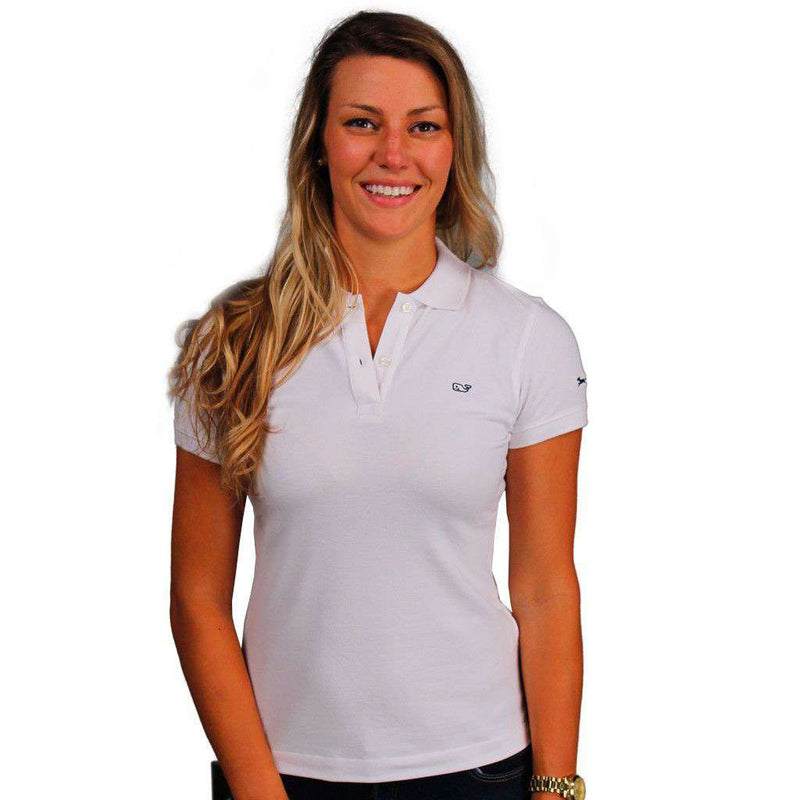 Women's Polo Shirts - Women's Classic Polo In White By Vineyard Vines, Featuring Longshanks The Fox - FINAL SALE