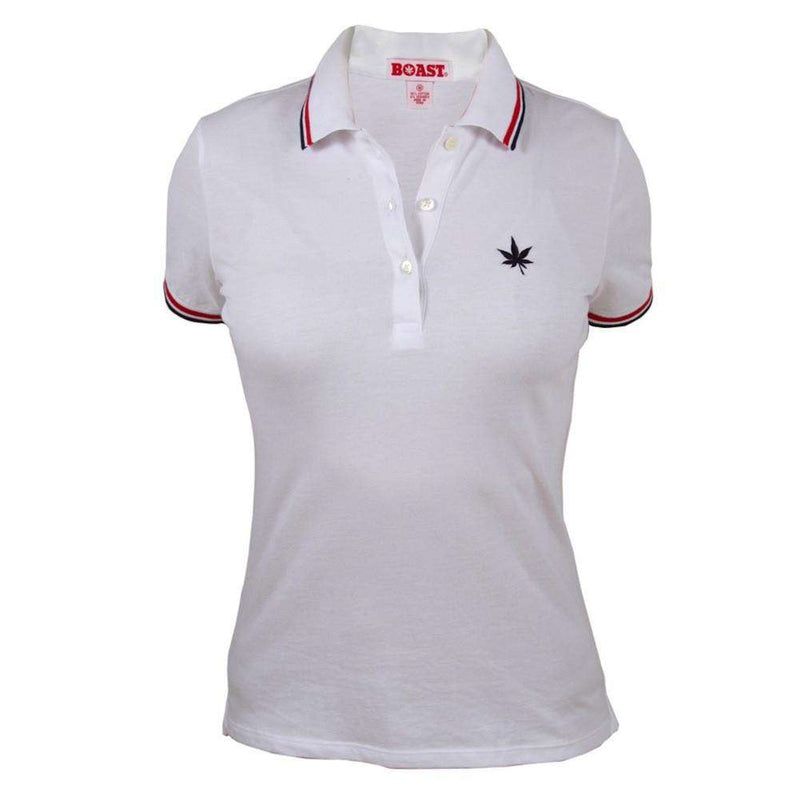 Women's Polo Shirts - Women's Tipped Polo In White With Red And Navy By Boast - FINAL SALE