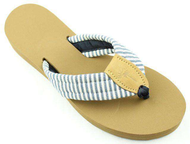 Women's Sandals - Fabric Sandal In Navy Stripes By Eliza B.