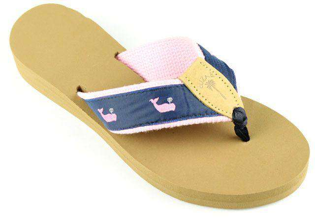 Women's Sandals - Fabric Sandal In Navy With Pink Whales By Eliza B.