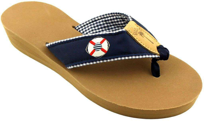 Women's Sandals - Fabric Sandal In Navy With White Life Ring By Eliza B. - FINAL SALE