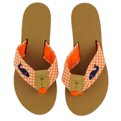 Women's Sandals - Fabric Sandal In Orange And White Gingham With Navy Embroidered Whale By Eliza B.