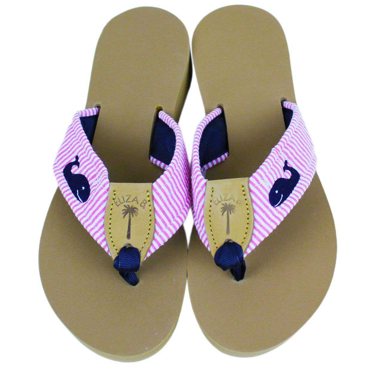 1281e2a99f05 Fabric Sandal in Pink Seersucker with Navy Embroidered Whales by Eliza –  Country Club Prep