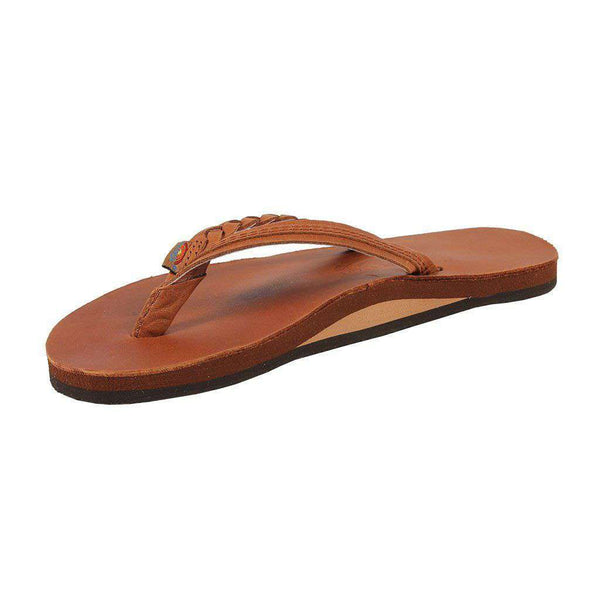 Women's Sandals - Flirty Braidy Leather Sandal In Tan By Rainbow Sandals