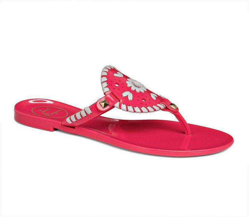 Women's Sandals - Georgica Jelly Sandal In Bright Pink And White By Jack Rogers
