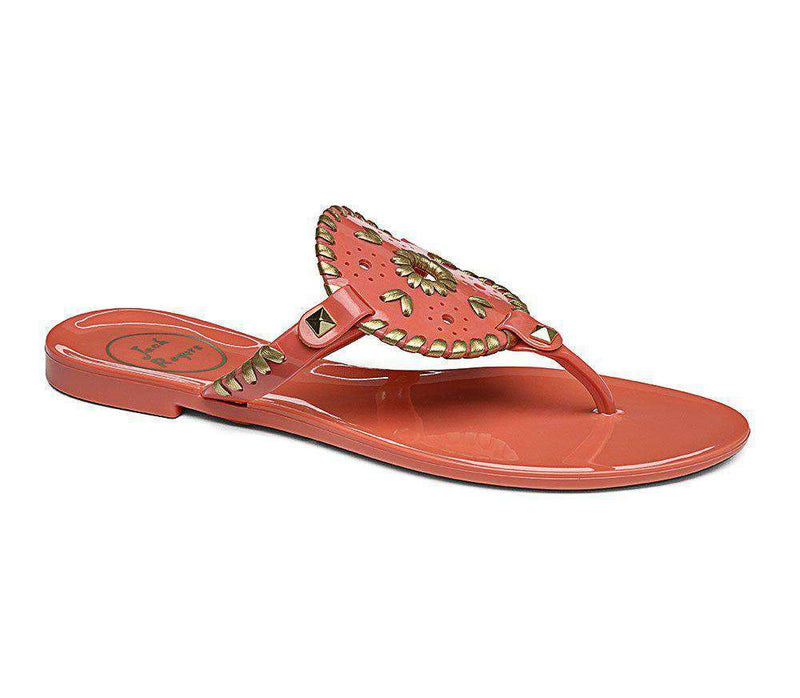 Women's Sandals - Georgica Jelly Sandal In Fire Coral & Gold By Jack Rogers