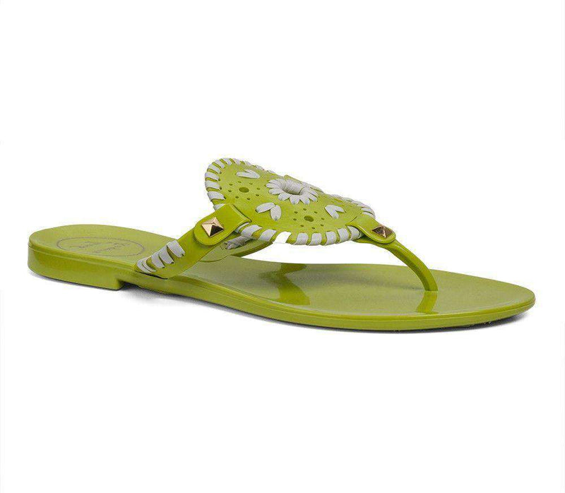 Women's Sandals - Georgica Jelly Sandal In Lime And White By Jack Rogers