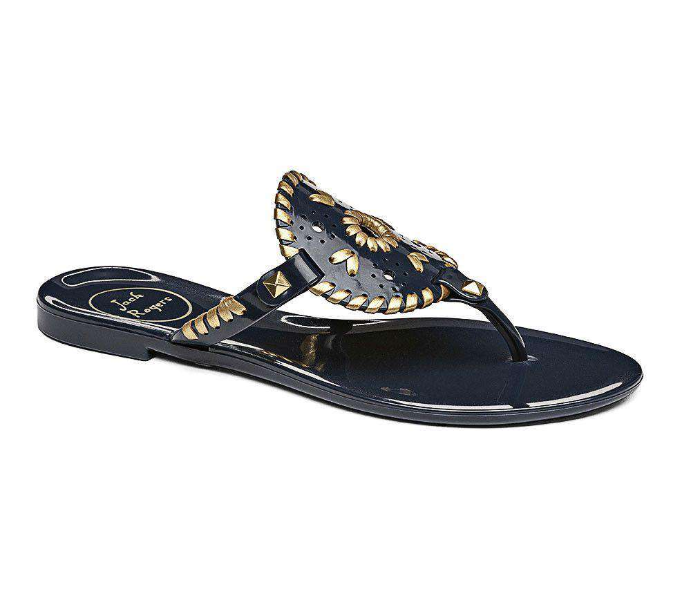 Women's Sandals - Georgica Jelly Sandal In Midnight Navy & Gold By Jack Rogers