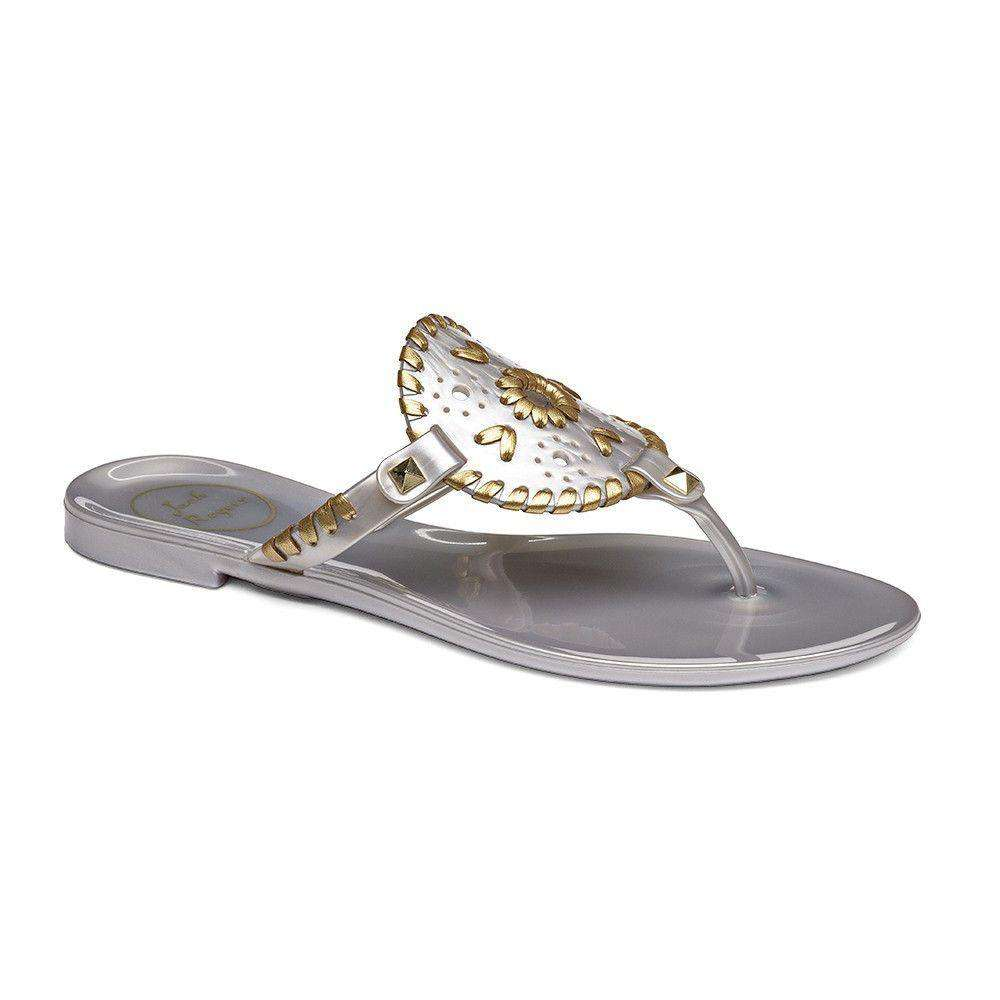 3154b80aded8 Jack Rogers Georgica Jelly Sandal in Silver and Gold – Country Club Prep