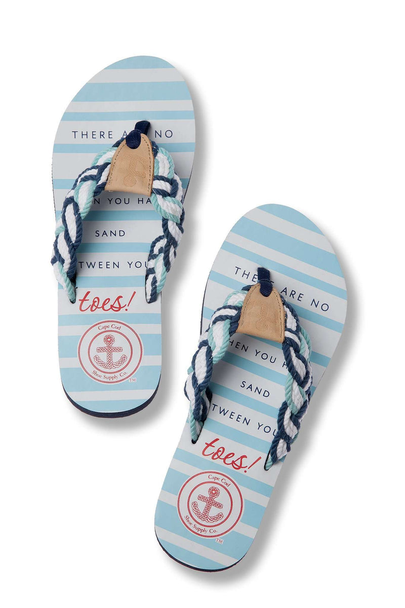 Women's Sandals - Mainsail Flip Flop In Inspired Blue By Cape Cod Shoe Supply Co.