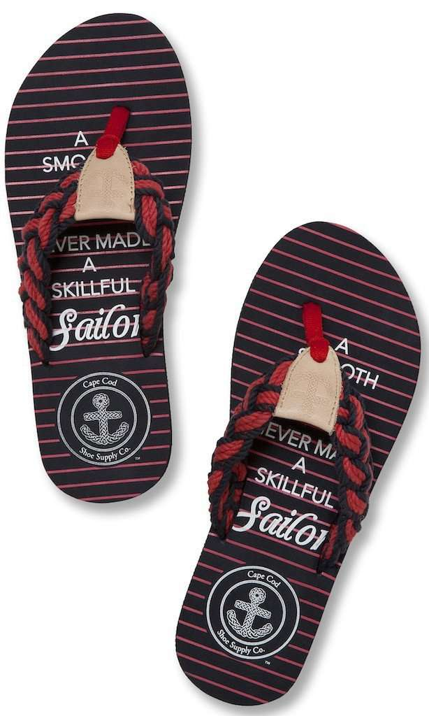 Women's Sandals - Mainsail Flip Flop In Sailor Quote By Cape Cod Shoe Supply Co.