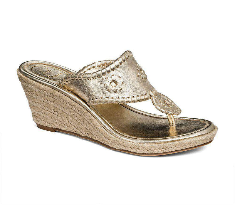 Women's Sandals - Marbella Wedge Sandal In Platinum By Jack Rogers - FINAL SALE