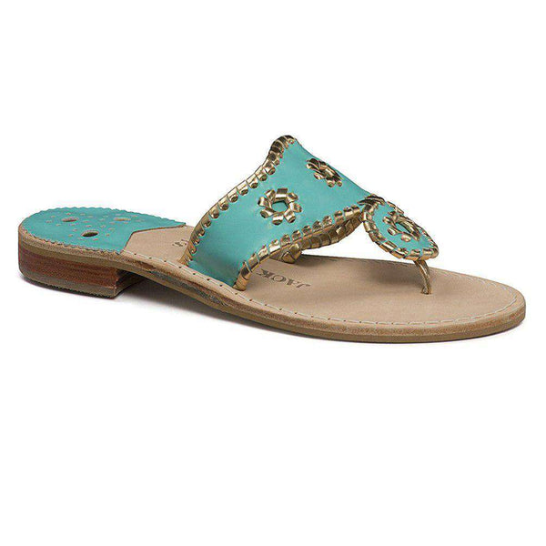 Women's Sandals - Nantucket Gold Sandal In Caribbean Blue And Gold By Jack Rogers - FINAL SALE