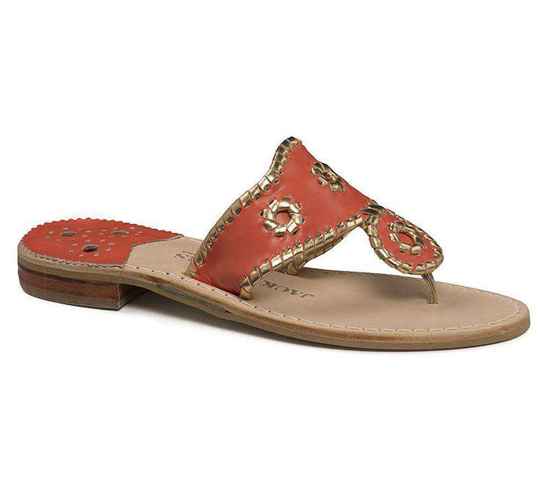 Women's Sandals - Nantucket Gold Sandal In Fire Coral And Gold By Jack Rogers - FINAL SALE