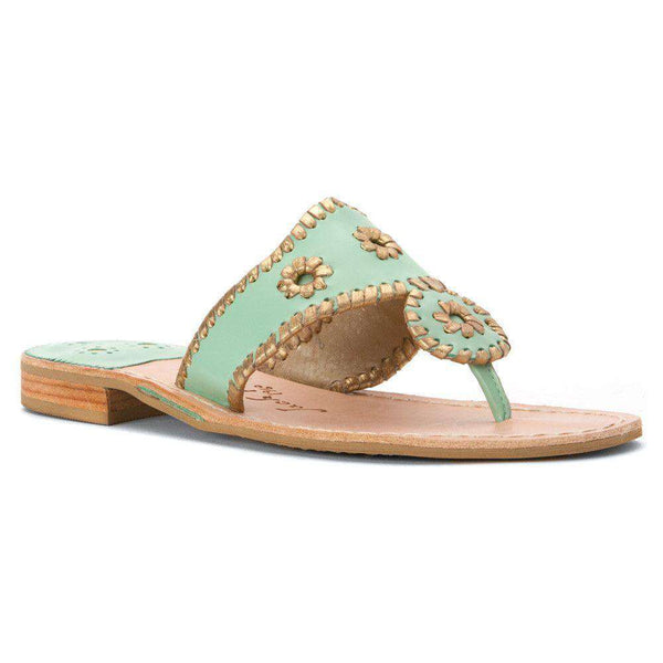 Women's Sandals - Nantucket Gold Sandal In Mint And Gold By Jack Rogers - FINAL SALE