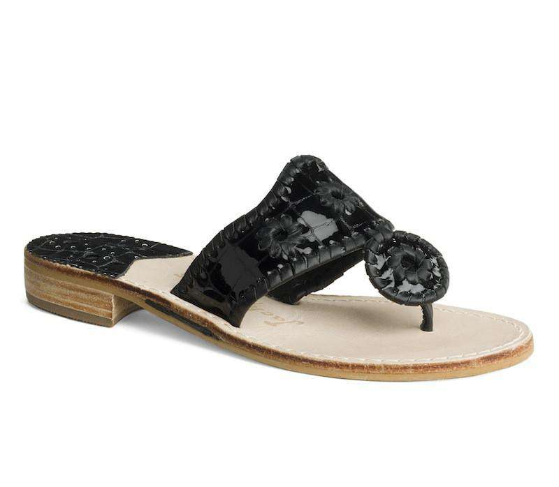 Women's Sandals - Newport Croc Navajo Sandal In Black By Jack Rogers