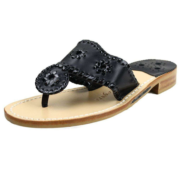 Women's Sandals - Palm Beach Navajo Sandal In Black By Jack Rogers