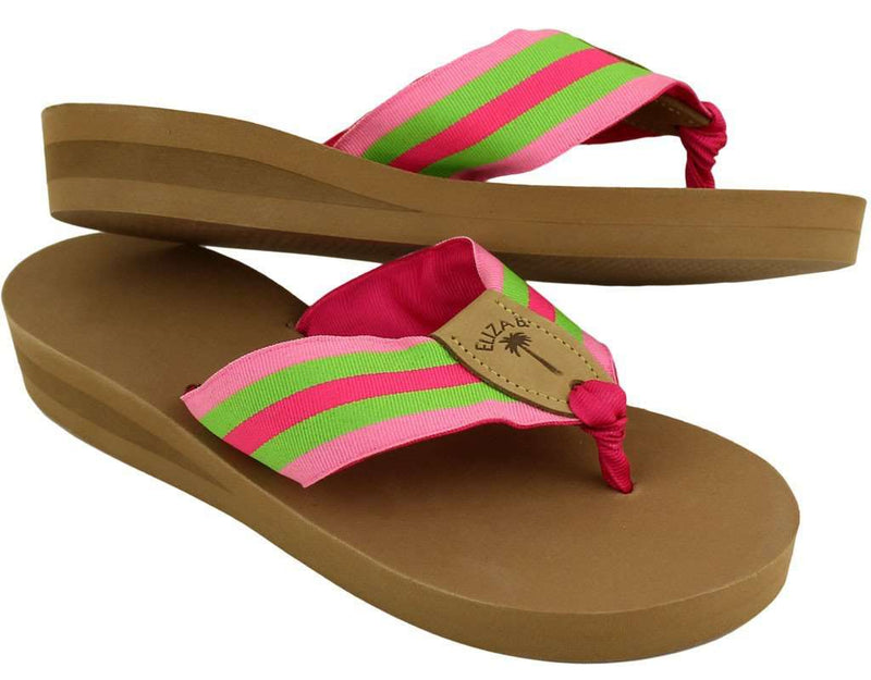Women's Sandals - Ribbon Sandal In Pink And Green Stripe By Eliza B.