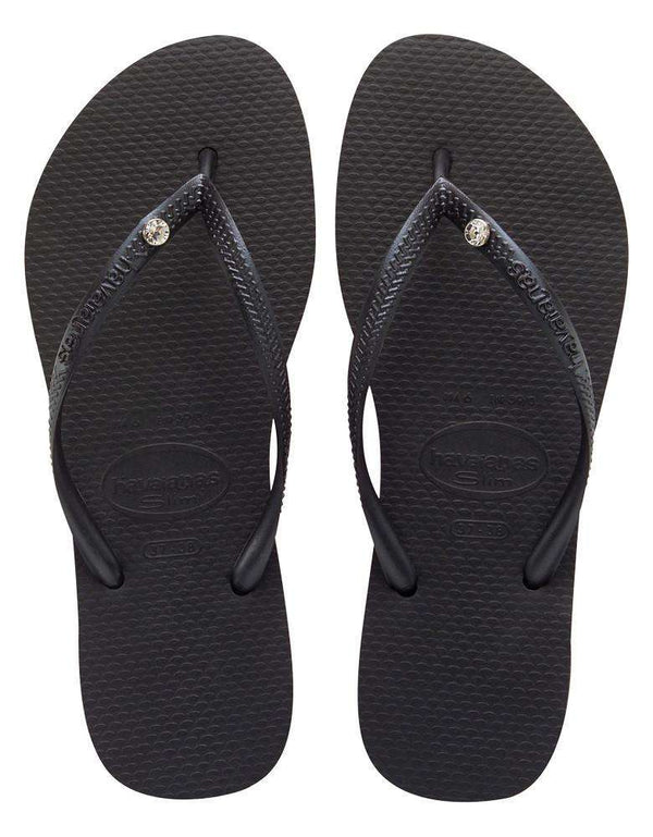 Slim Crystal Glamour Sandals in Black by Havaianas - FINAL SALE