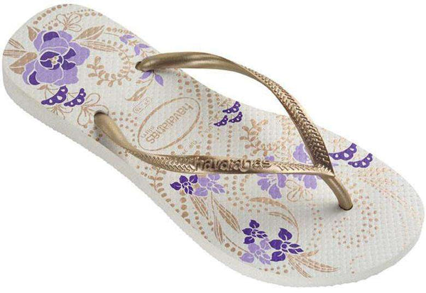 Slim Season Sandals in White/Light Golden by Havaianas - FINAL SALE