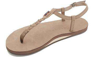 Womens Sandals  TStreet Single Layer Leather Sandal In Dark Brown By Rainbow  Sandals