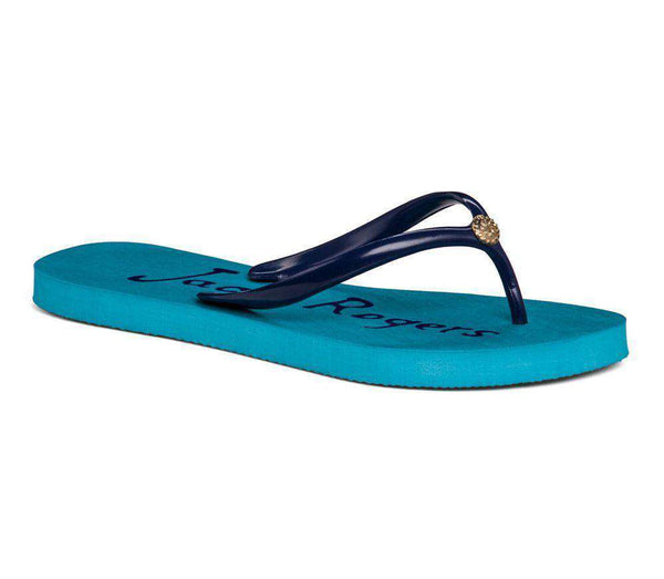 Women's Sandals - Tessa Flip Flop Sandal In Caribbean Blue And Midnight By Jack Rogers