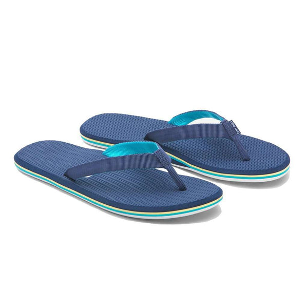 Women's Sandals - Women's Dunes Flip Flop In Navy, Yellow & Green By Hari Mari