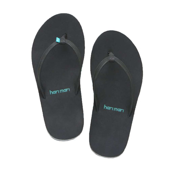 Women's Fields Flip Flop in Black & Sea Foam by Hari Mari