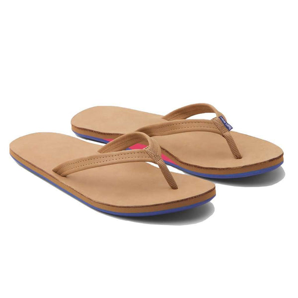 Women's Sandals - Women's Fields Flip Flop In Tan, Pink & Blue By Hari Mari