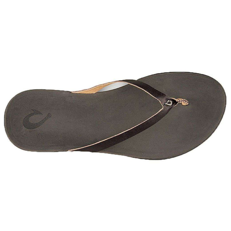 Women's Ho'opio Leather Sandal in Onyx & Black by Olukai - FINAL SALE