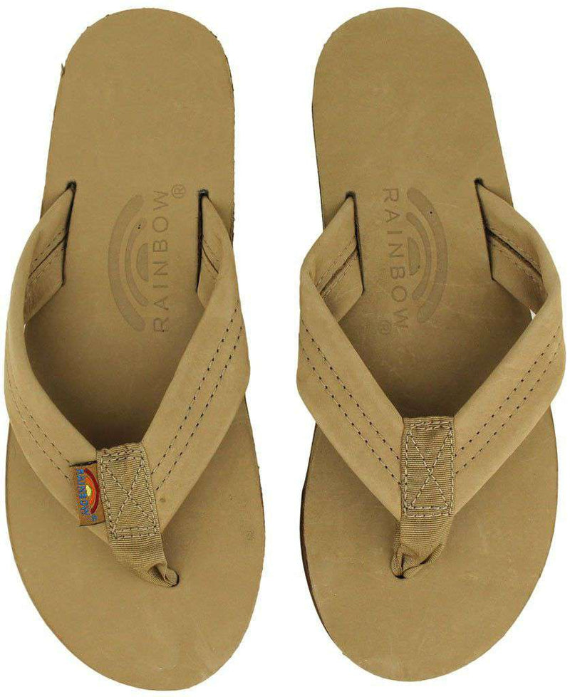 Women's Sandals - Women's Premier Leather Single Layer Arch Sandal In Sierra Brown By Rainbow Sandals
