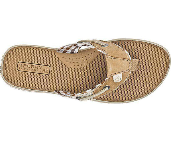Women's Seafish Thong Sandal in Linen & Oat Leather by Sperry