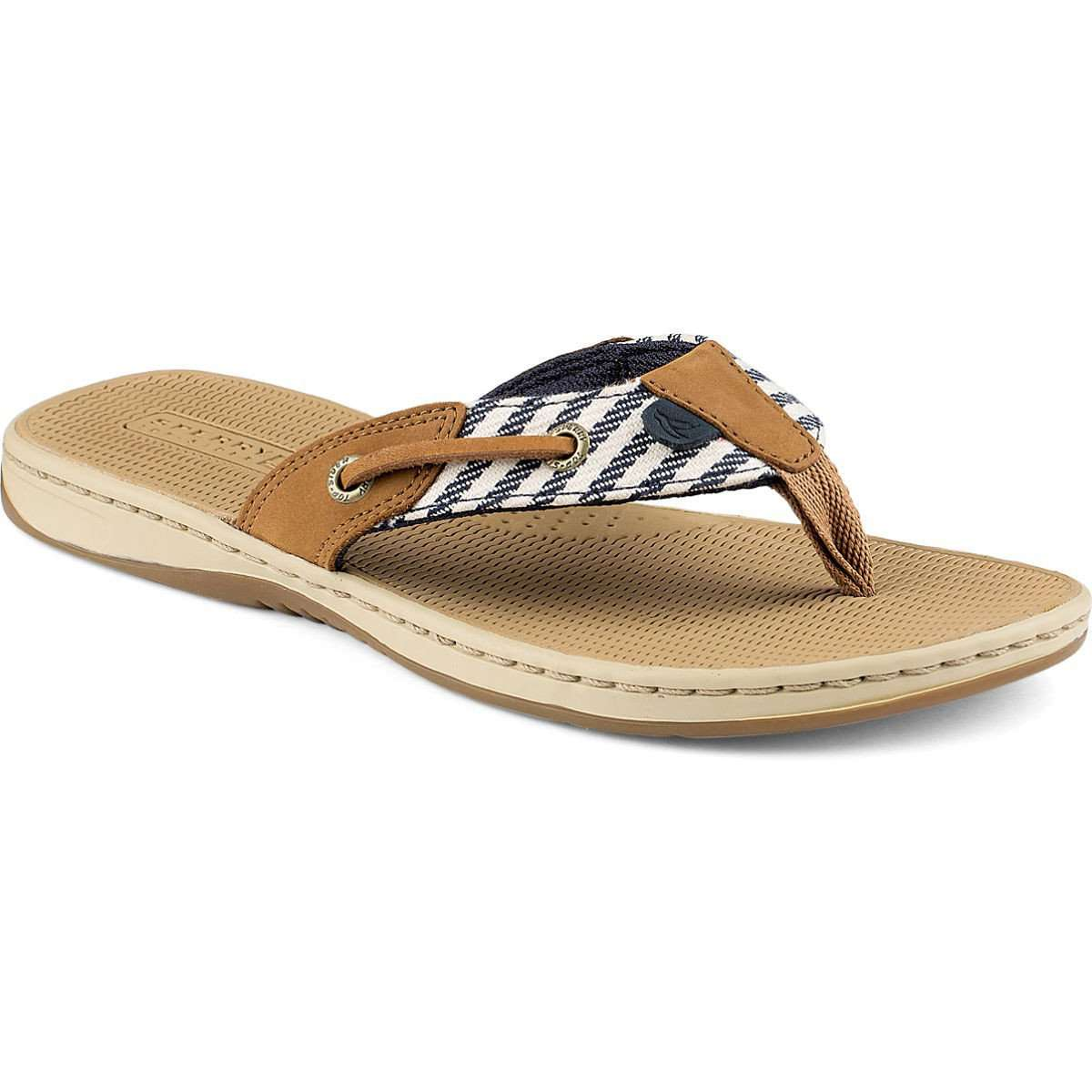 3881a0158 Sperry Women s Seafish Thong Sandal in Navy Stripe – Country Club Prep