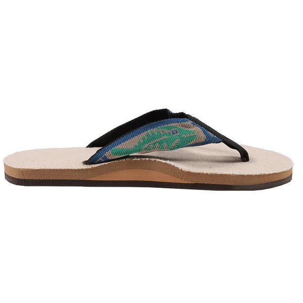Women's Single Layer Hemp Sandal with Light Green Fish Strap by Rainbow Sandals