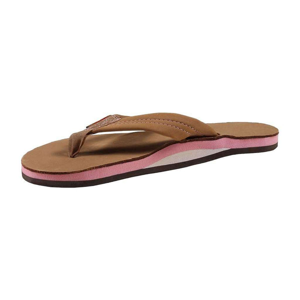 Women's Sandals - Women's Single Layer Premier Leather Sandal In Sierra Brown With Berry Arch By Rainbow Sandals