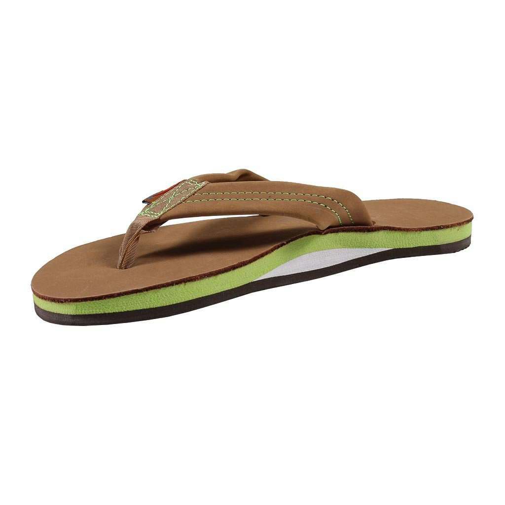 f552053c8dfb87 Rainbow Sandals Women s Single Layer Premier Leather Sandal in Sierra Brown  with Lime Arch – Country Club Prep