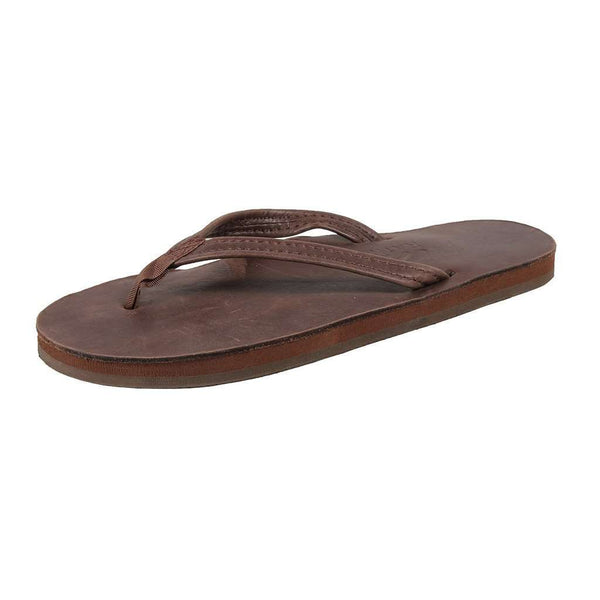 Women's Sandals - Women's Thin Strap Classic Leather Single Layer Arch Sandal In Mocha By Rainbow Sandals