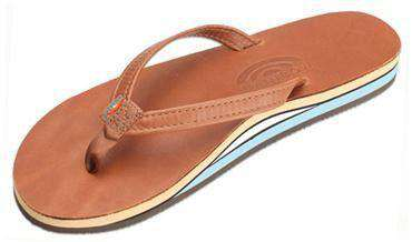 Women's Sandals - Women's Thin Strap Double Layer Classic Leather Sandal In Tan With Blue Arch By Rainbow Sandals