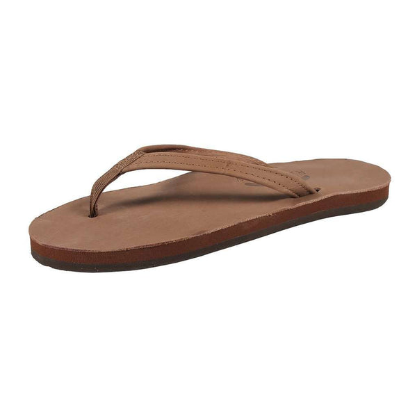 Women's Thin Strap Premier Leather Single Layer Arch Sandal in Dark Brown by Rainbow Sandals