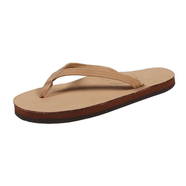 Women's Sandals - Women's Thin Strap Premier Leather Single Layer Arch Sandal In Sierra Brown By Rainbow Sandals