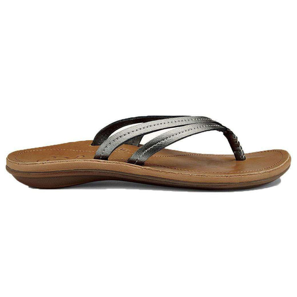 Women's Sandals - Women's U'I Sandal In Pewter Black & Sahara Brown By Olukai - FINAL SALE