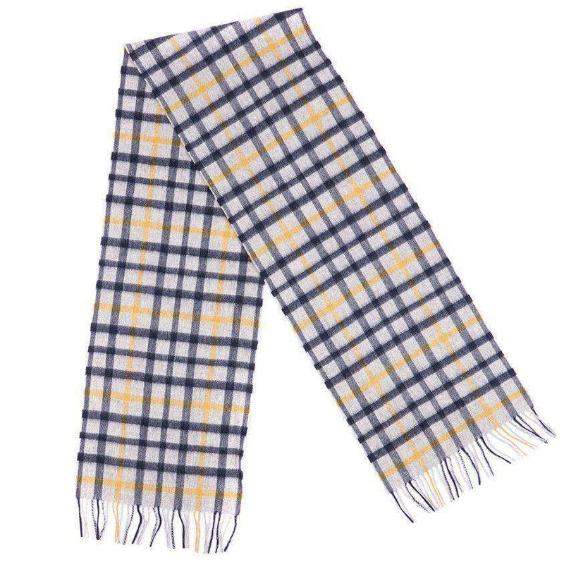 Bolt Tattersall Scarf in Grey/Navy/Yellow by Barbour