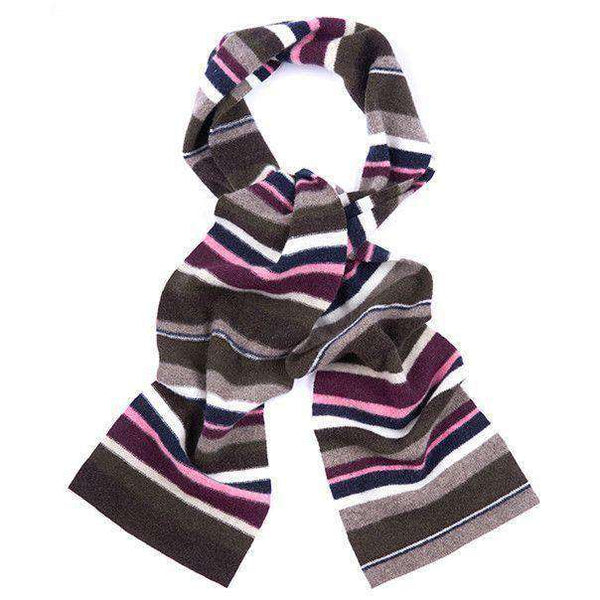 Women's Scarves & Wraps - Briggs Striped Scarf In Olive And Pink By Barbour