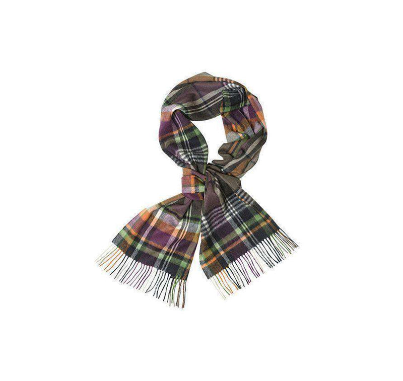Women's Scarves & Wraps - Bright Country Plaid Scarf In Olive And Purple By Barbour