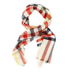 Women's Scarves & Wraps - Duncan Tattersall Scarf In Stone/Red By Barbour