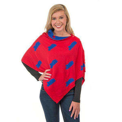 Women's Scarves & Wraps - Game Day 3-in-1 Wrap In Mississippi Yale Blue And Crimson By Top It Off - FINAL SALE