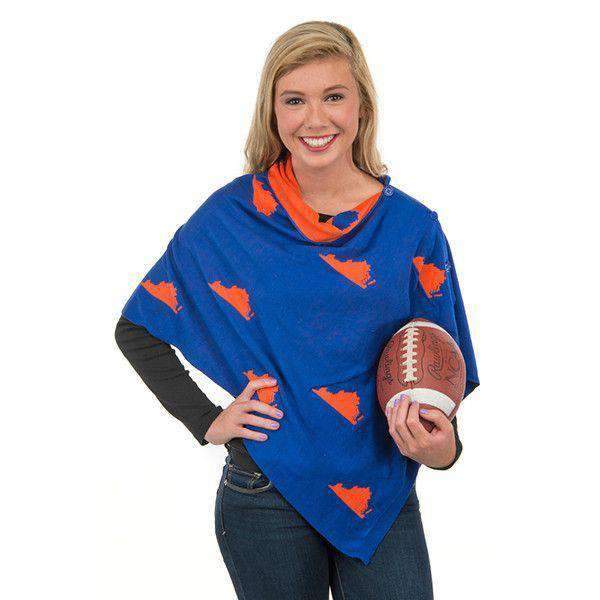 Women's Scarves & Wraps - Game Day 3-in-1 Wrap In Virginia Blue And Orange By Top It Off - FINAL SALE