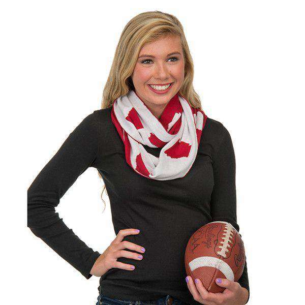 Women's Scarves & Wraps - Game Day Infinity Scarf In Arkansas Cardinal And White By Top It Off - FINAL SALE