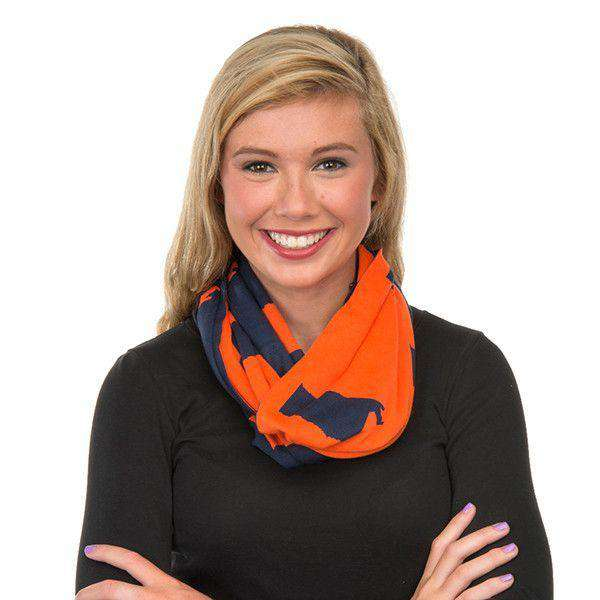 Women's Scarves & Wraps - Game Day Infinity Scarf In Auburn Orange And Navy Blue By Top It Off - FINAL SALE